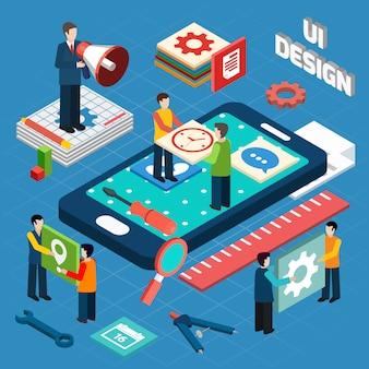 Benutzeroberflächendesignkonzept-symbolplan