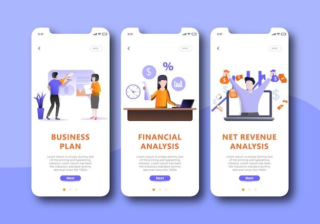 Benutzerschnittstellenkit für business-onboarding-bildschirme für vorlagen für mobile apps