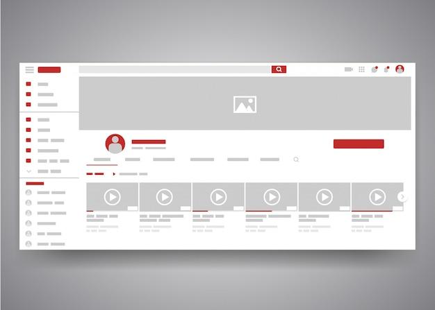 Benutzerschnittstellenseite des youtube-videokanals des webbrowsers mit suchfeld und videoliste.