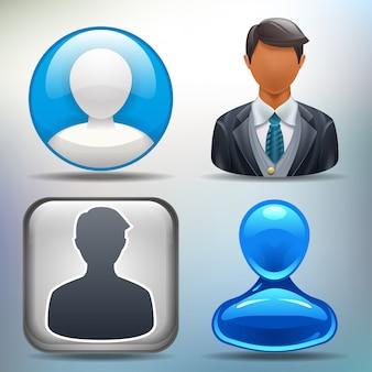 Benutzersymbole in verschiedenen stilen für ihre oder ihre anwendung.
