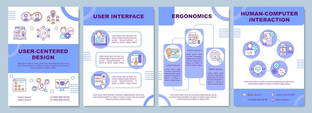 Benutzerzentrierte design-broschürenvorlage. benutzeroberfläche. ergonomie. flyer, broschüre, broschürendruck, cover-design mit linearen symbolen. vektorlayouts für präsentationen, geschäftsberichte, anzeigenseiten