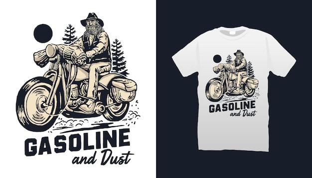 Benzin- und staub-vintage-motorrad-illustration