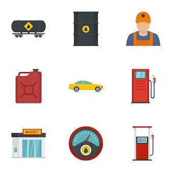 Benzinindustrie-icon-set. flacher satz von 9 treibstoffindustrieikonen