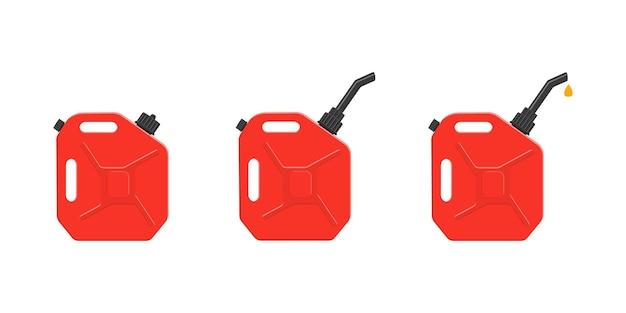 Benzinkanister mit verschlusskappe, ausgießer und ausgießendem benzintropfen. satz gasdosen, kraftstoffbehälter lokalisiert auf weißem hintergrund. vektor-cartoon-illustration.
