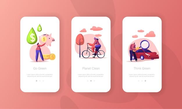 Benzinwirtschaft, eco transport mobile app seite bildschirmvorlagen