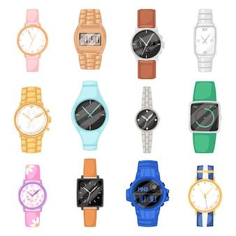 Beobachten sie vektorarmbanduhr für geschäftsmann oder mode-armbanduhr mit uhrwerk und zifferblatt, die in der zeit mit stundenpfeil-illustrationssatz des taktalarmzeitgebers lokalisiert auf weißem hintergrund getaktet sind