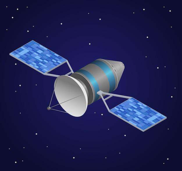 Beobachtungssatellit auf nachthimmel hintergrund. kabellose technologie.