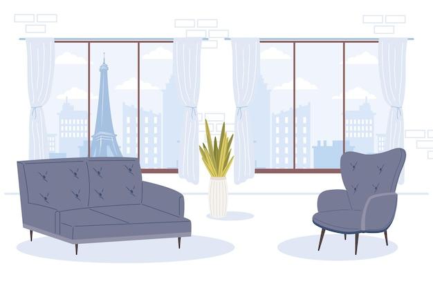 Bequeme und heimische blaue couch und stuhl im zimmer