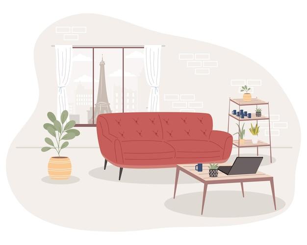 Bequeme und heimische rote couch im zimmer