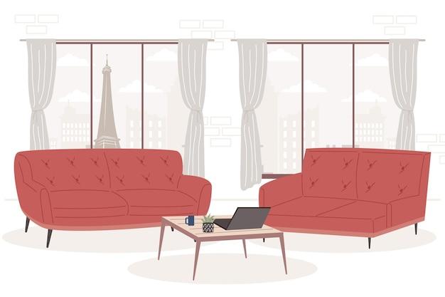 Bequeme und heimische rote sofas im zimmer