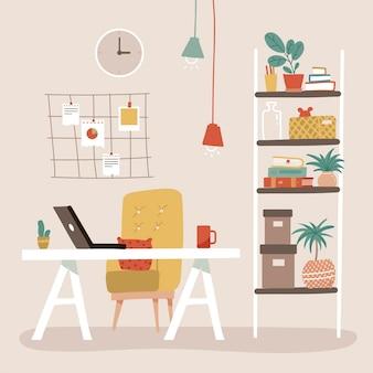 Bequemer büroarbeitsplatz mit tischregalregalen stehen mit bücher moodboard