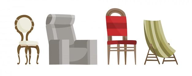 Bequemer sitz des stuhlvektors für innenart. design des modernen stuhl- und lehnsesselillustrationssatzes des lagerstuhls und des klappstuhls lokalisiert