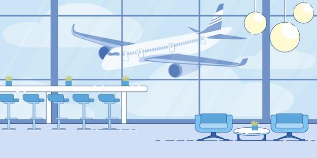 Bequemer wartebereich-vektor des flughafenabfertigungsgebäudes