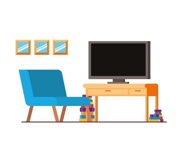 Bequemes sofa im wohnzimmer mit plasmafernseher