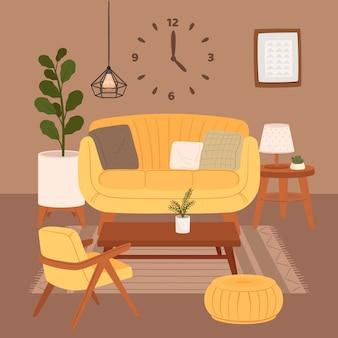 Bequemes wohnzimmerinnenraum, der auf sessel und ottomane mit zimmerpflanzen wächst, die in töpfen wachsen