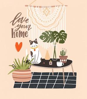 Bequemes zimmer mit tisch, katze, die darauf sitzt, topfpflanzen, hauptdekorationen und love your home-satz geschrieben mit kursivschrift.