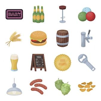 Ber pub cartoon gesetztes symbol. lokalisierte gesetzte ikonengetränkbar der karikatur. bier weiß.
