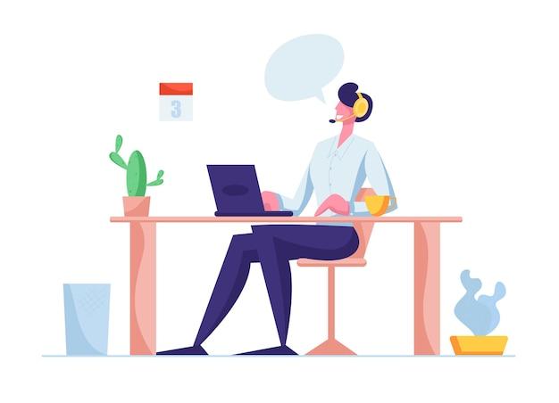 Berater im hotline-chat mit dem kunden