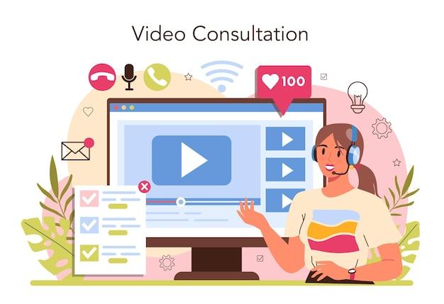 Berater-online-dienst oder -plattform. spezialist forscht und empfiehlt eine lösung. strategiemanagement und fehlerbehebung. online-videoberatung. flache vektorgrafik