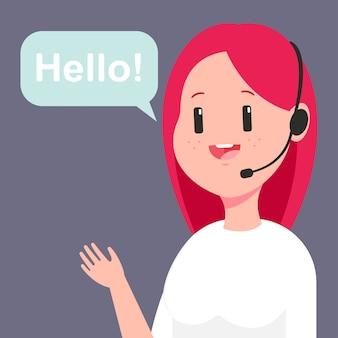 Beraterin im kundenservice. karikaturillustration des callcenter-betreibers der frau im headset und in der sprechblase lokalisiert auf hintergrund.