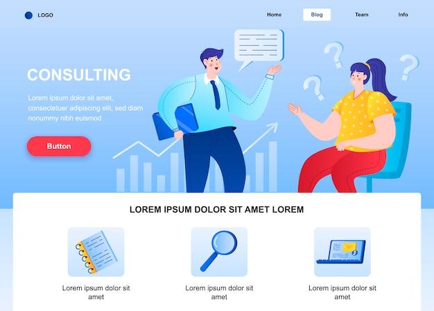 Beratung flache landingpage. berater im gespräch mit der webseite des kunden.
