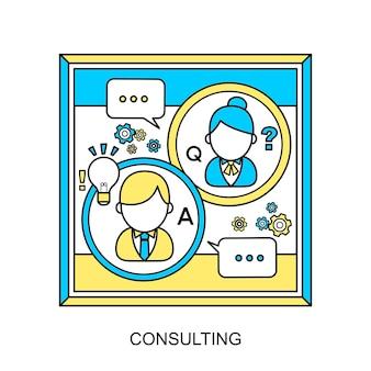 Beratungskonzept: kundenservice im flatline-stil