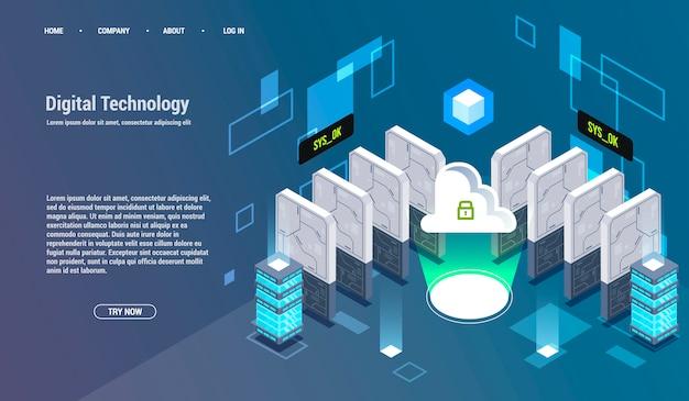 Berechnung von big data center, informationsverarbeitung, datenbank. routing des internetverkehrs.