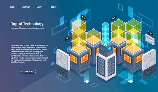 Berechnung von big data center, informationsverarbeitung, datenbank.