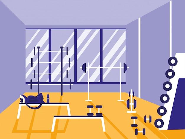 Bereich für gewichtheben im sportstudio