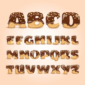 Bereifte schokoladen-oblaten-alphabet-buchstaben eingestellt