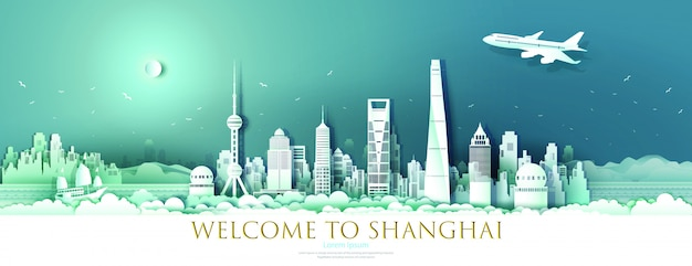 Bereisen sie markstein im stadtzentrum gelegenes shanghai mit städtischer wolkenkratzerfahne