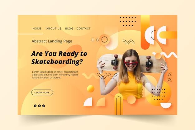 Bereit für die landingpage-designvorlage für skateboarding