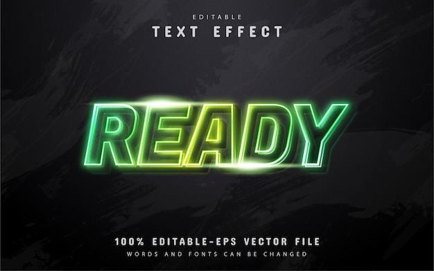 Bereit text, grüner neonart-texteffekt
