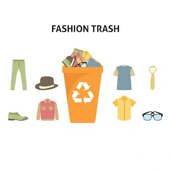 Bereiten sie mode-abfall-illustrations-satz auf