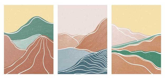 Berg am set. moderner minimalistischer kunstdruck aus der mitte des jahrhunderts. abstrakte zeitgenössische ästhetische hintergrundlandschaft. vektorgrafiken