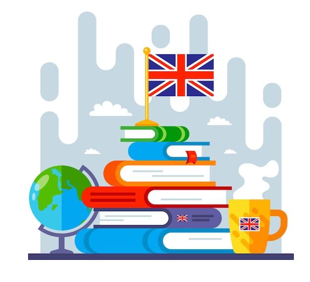 Berg aus büchern über das studium der englischen sprache. ziel beim erlernen einer fremdsprache. flache vektorillustration.