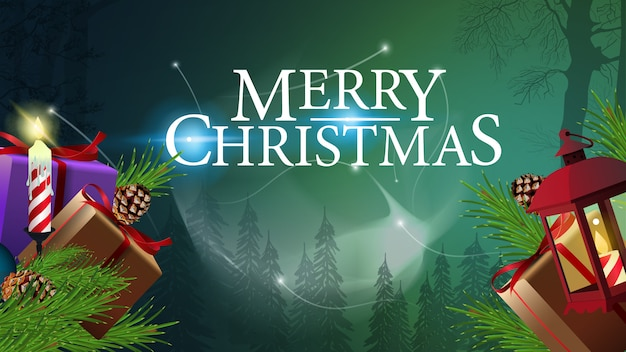 Berg der weihnachtsgeschenke im magischen wald