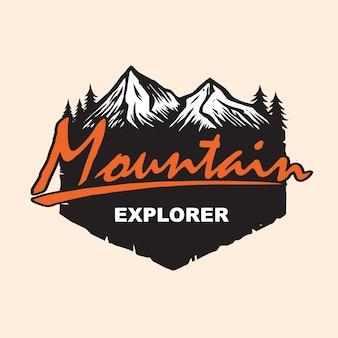Berg erkunden logo design vector template
