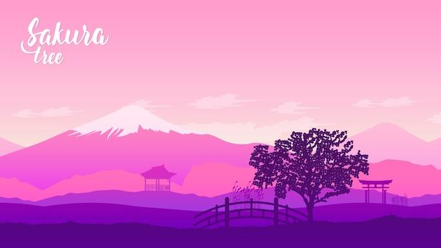 Berg fuji mit herbstfarben in japan-schablonenland
