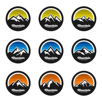Berg logo design vektor festgelegt