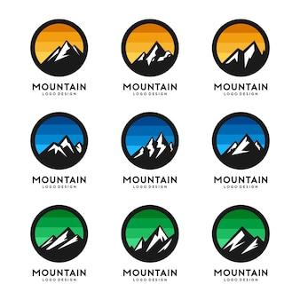 Berg logo vorlage vektor festgelegt