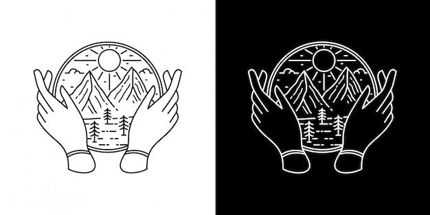 Berg mit hand monoline design