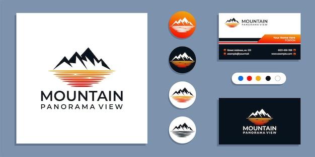 Berg mit meer, panorama des strandlogos und inspiration für die visitenkarten-designvorlage
