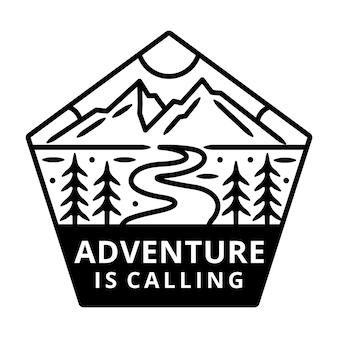 Berg mit sun monoline, adventure label, abzeichen design.