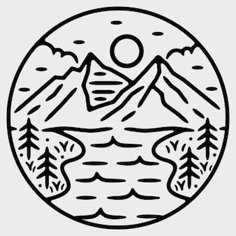 Berg monoline vintage outdoor-abzeichen design
