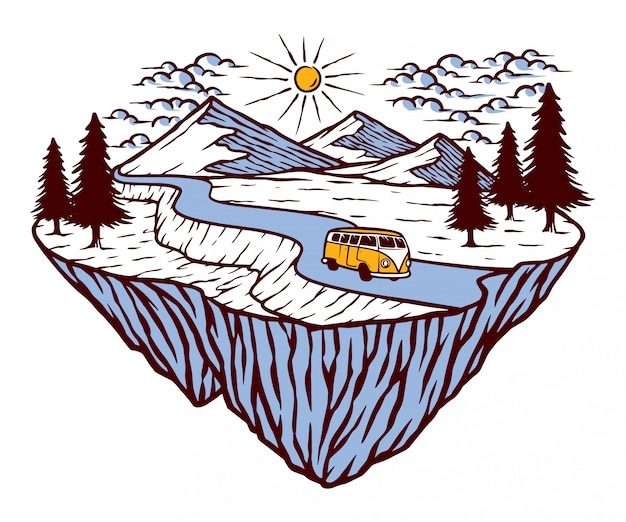 Berg- und autoillustration