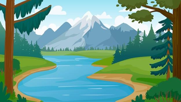 Berg- und seenlandschaft. cartoon rocky mountains, wald und flussszene. wildes natursommerpanorama. wandern abenteuer vektorkonzept. illustrationswaldsee, sommerhügelumweltspitze