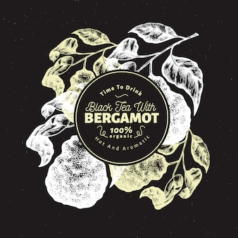 Bergamotte zweig entwurfsvorlage.