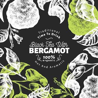 Bergamotte zweig hintergrunddesign. kaffir kalk rahmen. hand gezeichnete vektorfrucht