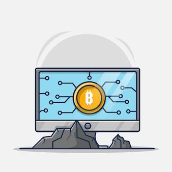 Bergbau bitcoin auf laptop-cartoon-illustration